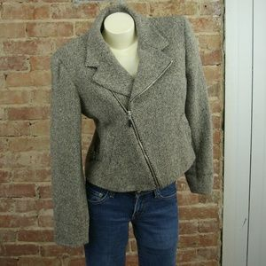 Lauren Ralph Lauren Jacket Sz L Beige Brown Zipper